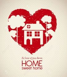15794661-Illustration-of-home-icons-house-silhouette-on-heart-sketch-vector-illustration-Stock-Vector
